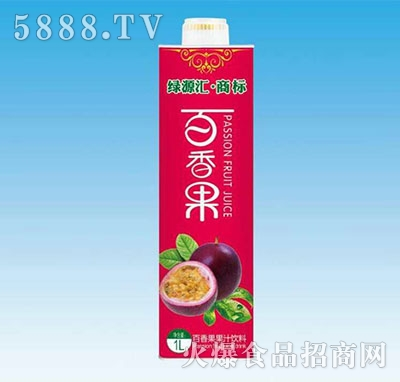 绿健源百香果汁饮料1L