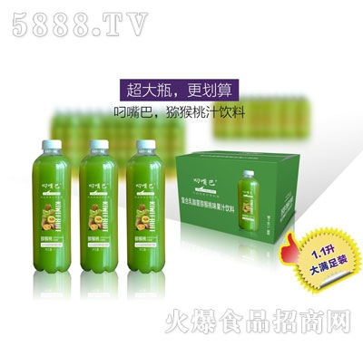 叼嘴巴复合乳酸菌猕猴桃味果汁饮料1.1Lx8瓶