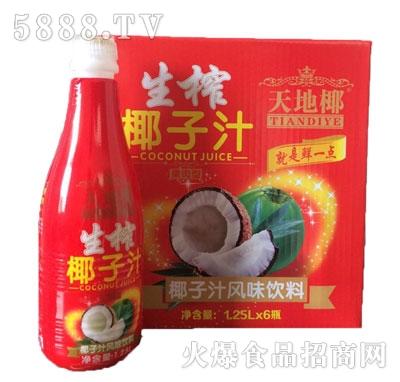 天地椰生榨椰子汁风味饮料1.25Lx6瓶