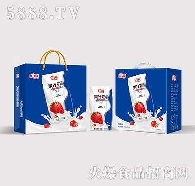 汇源果汁奶饮品草莓味200mlx12盒产品图