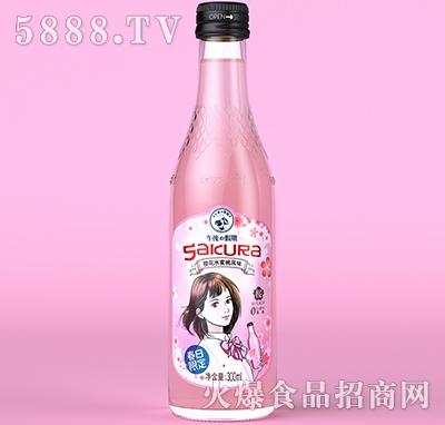 午后假期樱花水蜜桃含汽饮料300ml