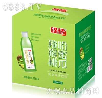 缘情猕猴桃哈密瓜复合果汁饮料1.25LX6