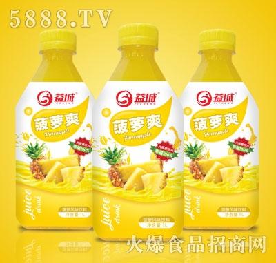 益城菠萝爽真果粒果汁风味饮料1L*8支