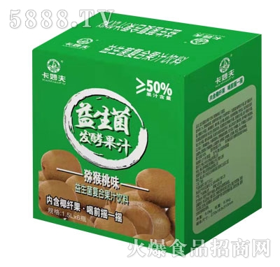 卡妙夫益生菌发酵果汁猕猴桃味1.5LX6