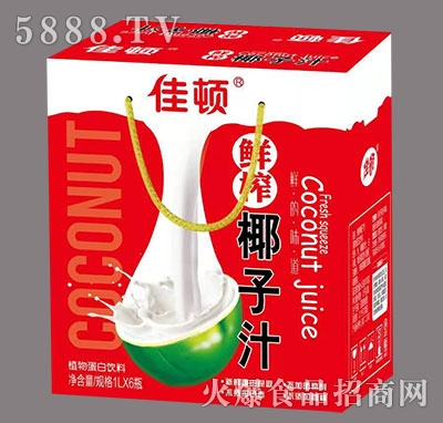 佳顿鲜榨椰子汁植物蛋白饮料1L×6瓶产品图