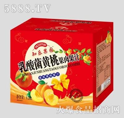 知乐果园乳酸菌黄桃果肉果汁1.26L箱装