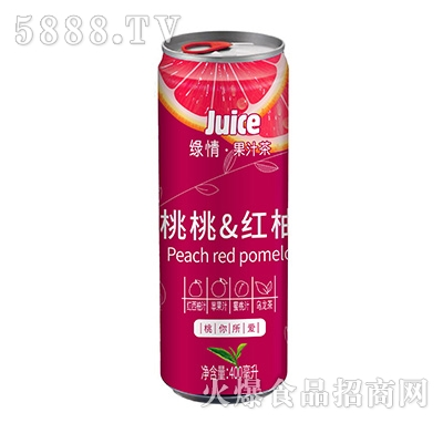 绿情桃桃红柚果汁茶饮料400ml
