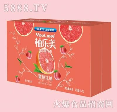 柚乐美果汁茶蜜桃红柚味400mlX15