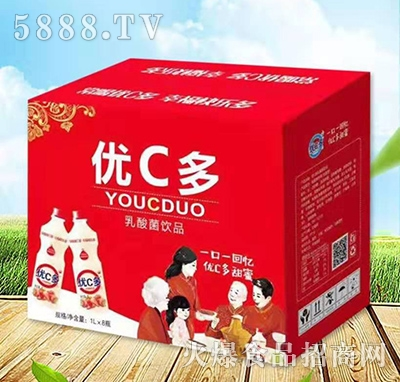 优C多乳酸菌饮料草莓味1Lx8瓶