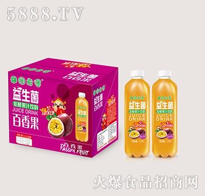 果园奇遇益生菌发酵百香果果汁饮料1.25Lx6瓶