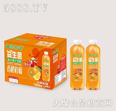 果园奇遇益生菌发酵香橙果汁饮料1.25Lx6瓶
