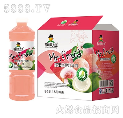 1.5L×6玉川果先生椰果蜜桃汁饮料
