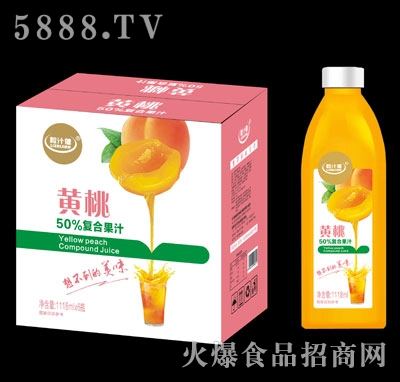 粒汁健黄桃50%复合果汁1118mlX6