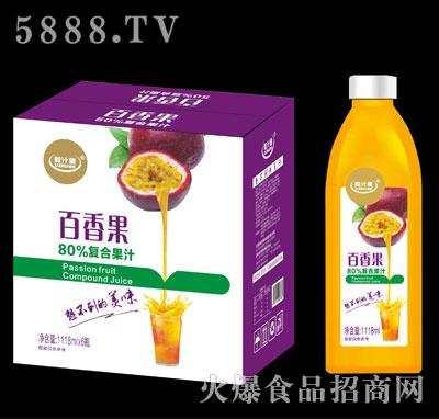 粒汁健百香果80%复合果汁1118mlX6