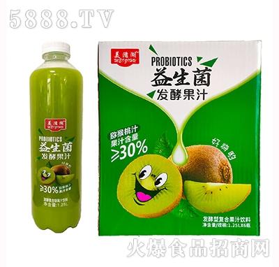 美滋湖益生菌发酵复合猕猴桃汁饮料1.25Lx6瓶