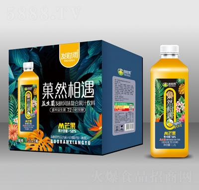 发财雨�然相遇益生菌发酵芒果复合果汁饮料1.2LX6