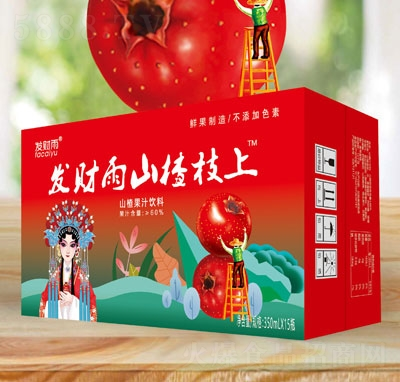 发财雨山楂枝上山楂果汁饮料350mlX15
