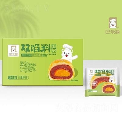 巴米熊双馅料面包红豆绿豆