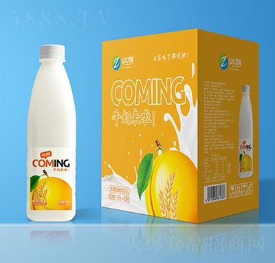 �口妙牛奶�砝舶l酵型酸奶�品�S桃燕��味1Lx6瓶