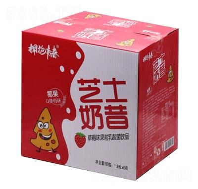 拥抱青春芝士奶昔草莓味果粒乳酸菌饮品1.25LX6