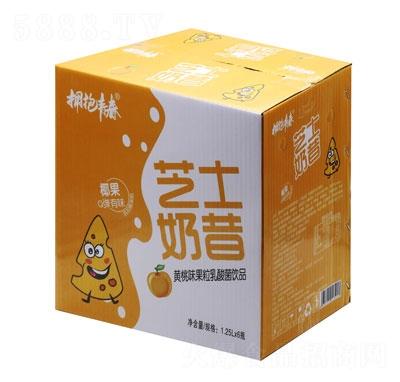 拥抱青春芝士奶昔黄桃味果粒乳酸菌饮品1.25LX6