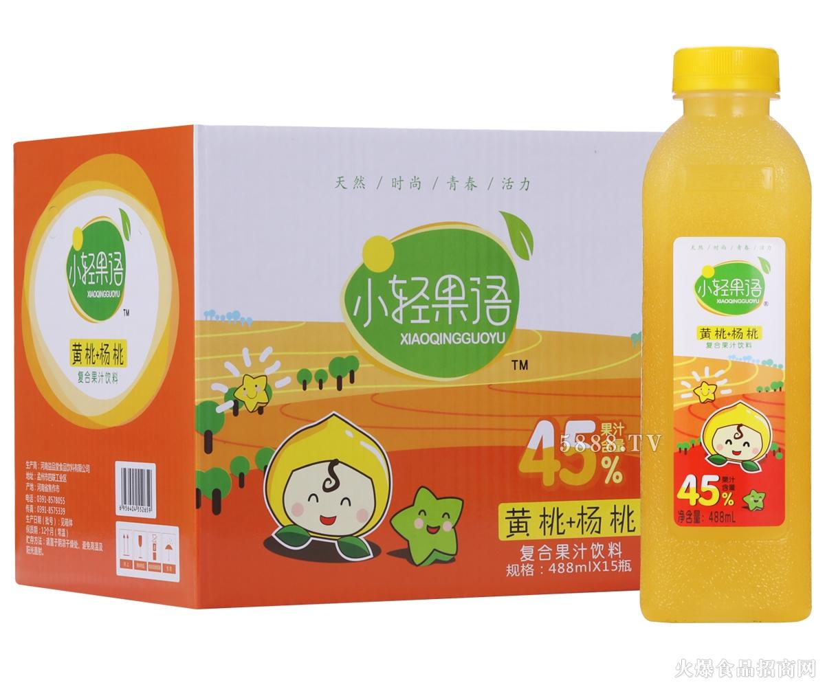 小轻果语黄桃+杨桃复合果汁488mlx15瓶