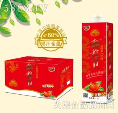 鑫养卫山楂果汁果肉饮料箱装1LX6瓶