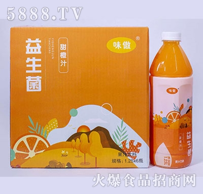 味傲益生菌甜橙汁果汁饮料1.25L×6瓶