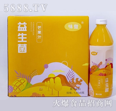 味傲益生菌芒果汁果汁饮料1.25L×6瓶