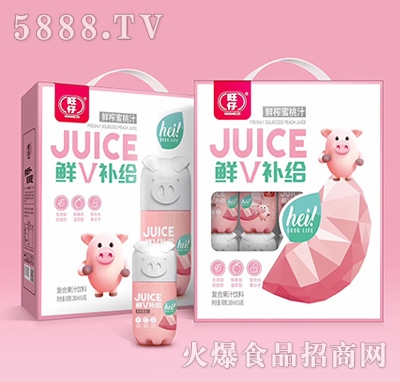 旺仔鲜V补给小猪果汁鲜榨蜜桃汁复合果汁饮料280mlx16瓶