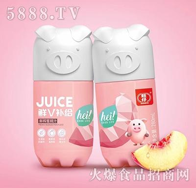 旺仔鲜V补给小猪果汁鲜榨蜜桃汁复合果汁饮料280ml