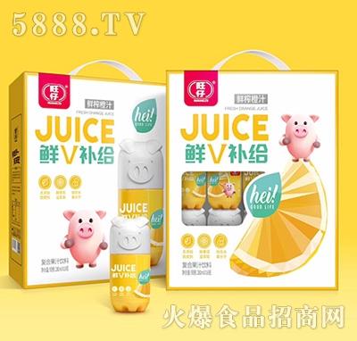 旺仔鲜V补给小猪果汁鲜榨橙汁复合果汁饮品280mlx16瓶