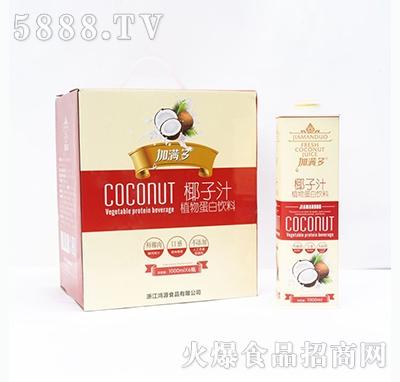 加满多椰子汁植物蛋白饮料饮料1000mlx6瓶