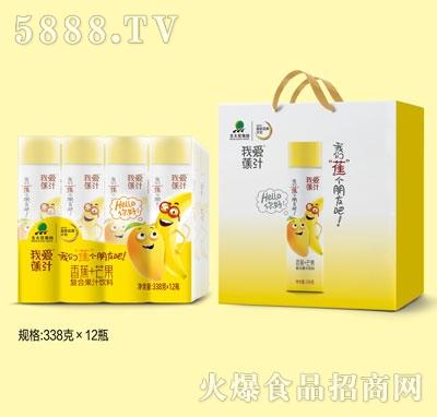 我爱焦汁香蕉+芒果复合果汁饮料338gX12