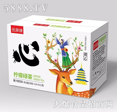 优果缘柠檬绿茶果汁茶458mlx15