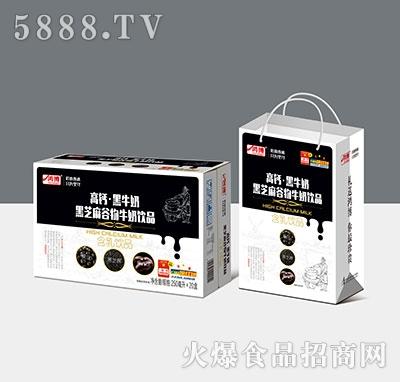 鸿博高钙黑牛奶黑芝麻谷物牛奶饮料250ml×20盒产品图