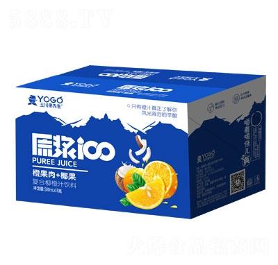 玉川果先生橙果肉+椰果复合柳橙汁饮料500mlX15