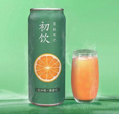 初饮橙子果粒果汁