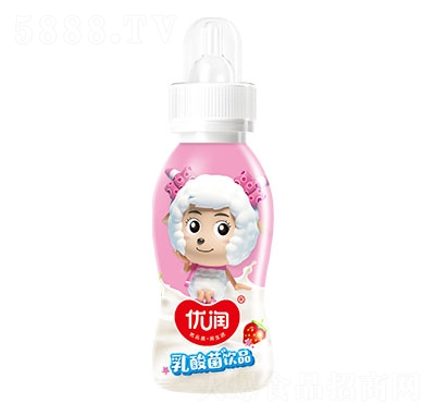 优润乳酸菌饮品草莓味200ml奶嘴瓶