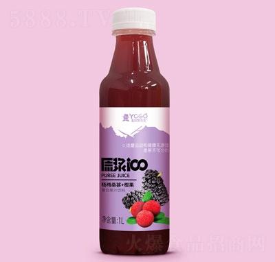 玉川果先生杨梅桑葚+椰果复合果汁饮料1L