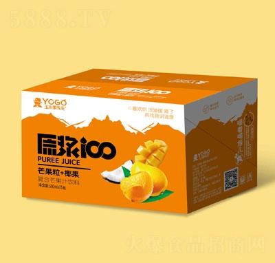 玉川果先生芒果粒+椰果复合芒果汁饮料500mlX15