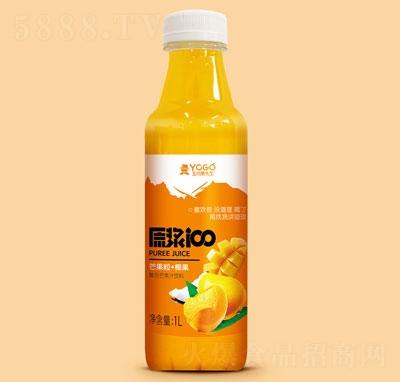 玉川果先生芒果粒+椰果复合芒果汁饮料1L