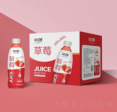 �口妙草莓果粒果汁�料1.25Lx6瓶