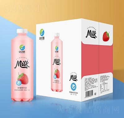 �口妙草莓牛奶乳味�料1.25Lx6瓶