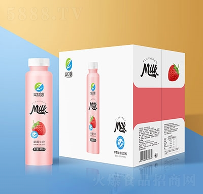 �口妙草莓牛奶乳味�料400mlx15瓶