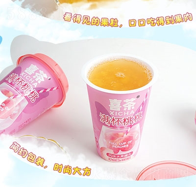 喜茶满杯桃桃风味水果罐头(杯)产品图
