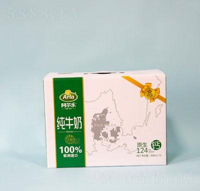 阿尔乐全脂纯牛奶200MLX12盒