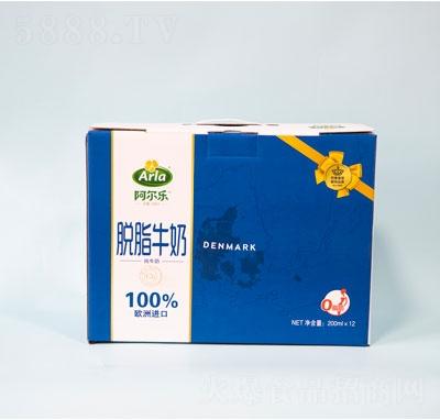 阿尔乐脱脂纯牛奶12盒正面