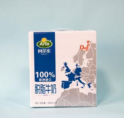 阿尔乐脱脂纯牛奶200mlX10盒