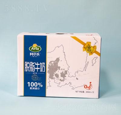 阿尔乐脱脂纯牛奶200mlX12盒